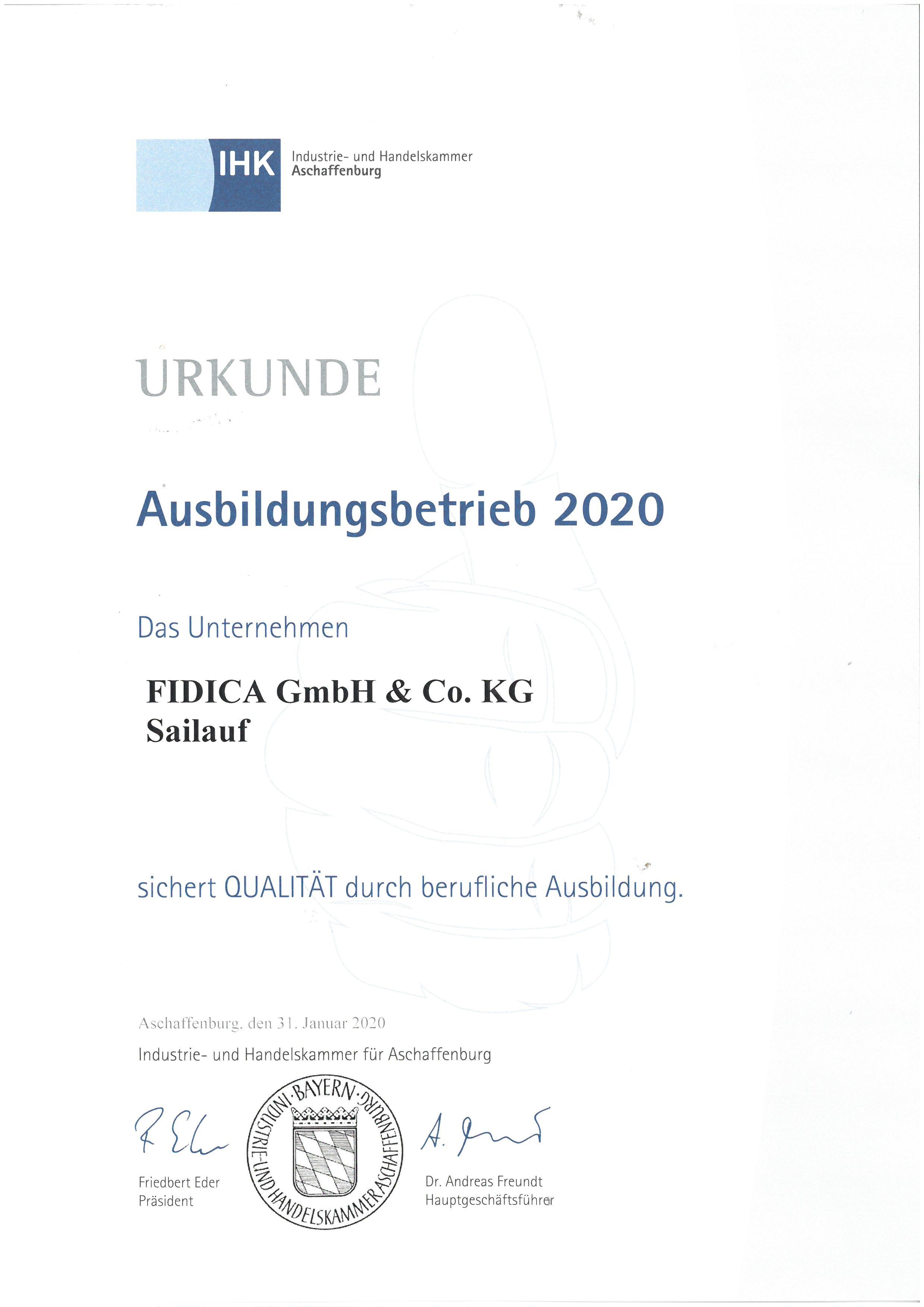 Urkunde Ausbildungsbetrieb 2020